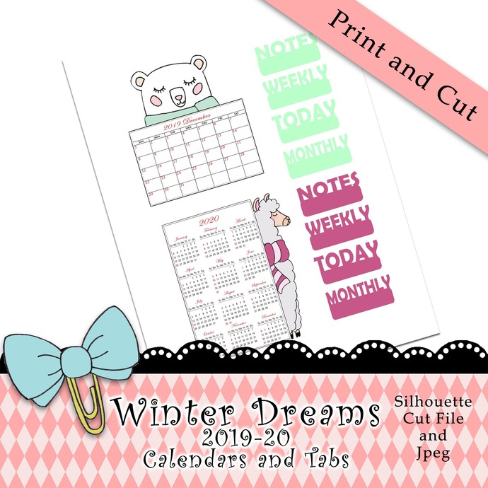 """""""Winter Dreams 2019-20 Calendars and Tabs"""" Print and Cut Download"""