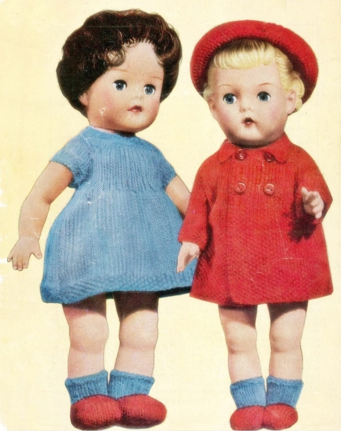 INSTANTPDF DIGITAL DOWNLOAD VINTAGE KNITTING PATTERN BABY DOLL CLOTHES SET