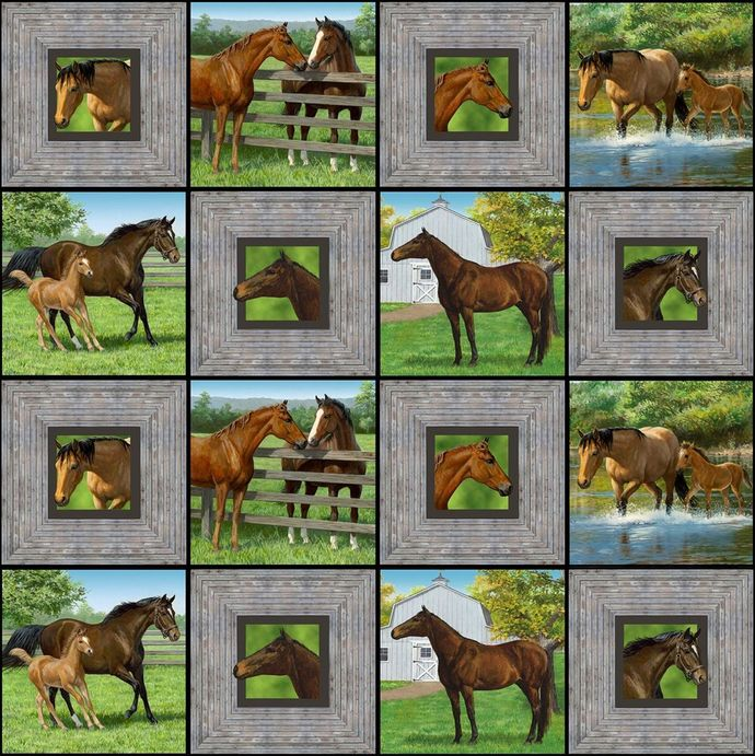 Yardage Cotton Quilt Fabric Wild Wings Summer Breeze Horse Equestrian