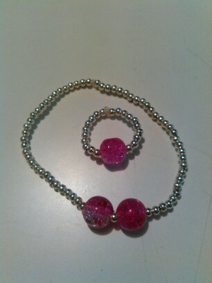 Two-toned Bracelet & Ring Jewelry Set, Womens, Handmade, Beaded, Girls