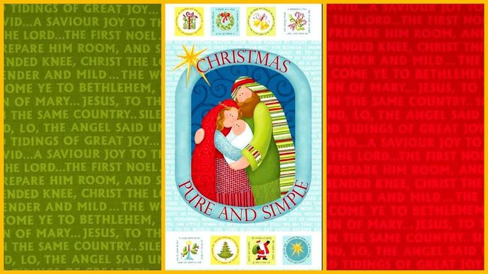 Cotton Quilt Fabric Panel Medley Christmas Pure and Simple Nativity Christian