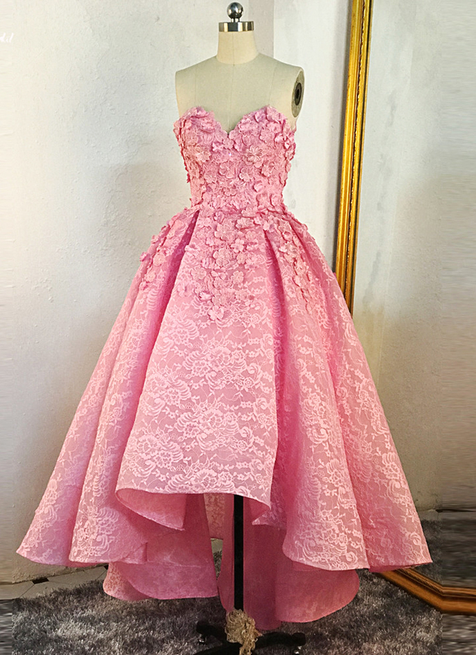Pink Lace High Low Sweetheart Party Dress, Pink Formal Dress 2020