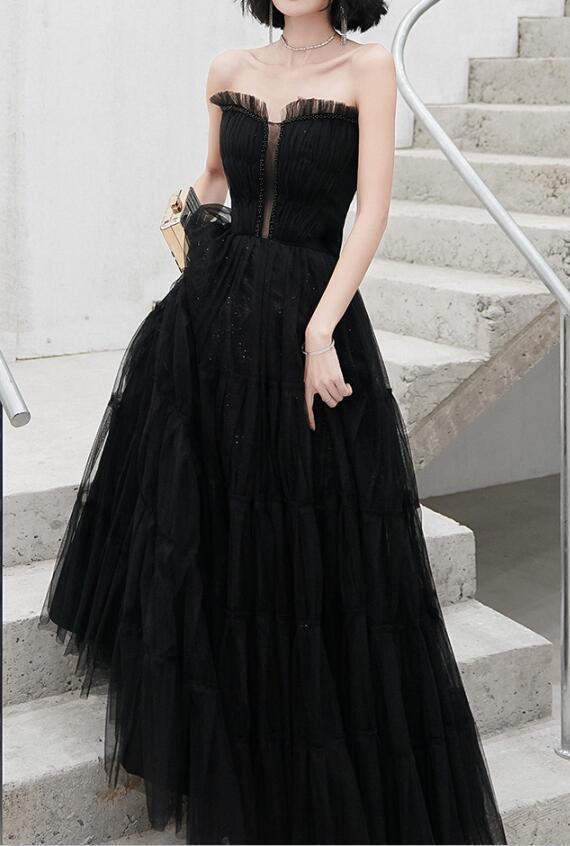 Elegant Black Tulle Gown, Black Party Dress Long 2020