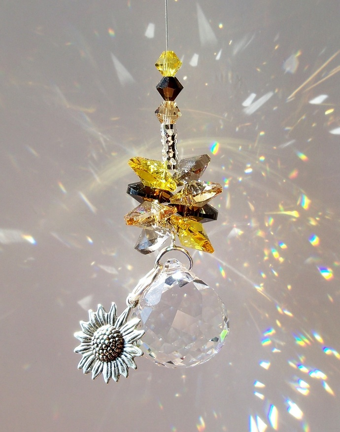 Crystal Suncatcher Cluster Sunflower Charm
