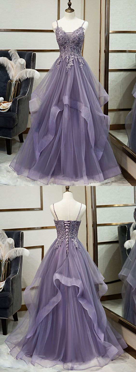 Purple v neck tulle lace long prom dress, evening dress