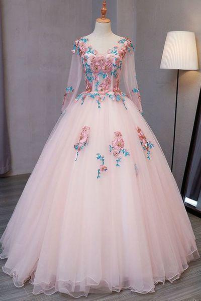Blue tulle V neck long customize prom dress, long lace evening dress