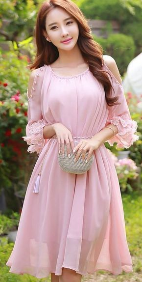 Pink Prom Dress,Middle Sleeve Prom Dress,Fashion Homecoming Dress