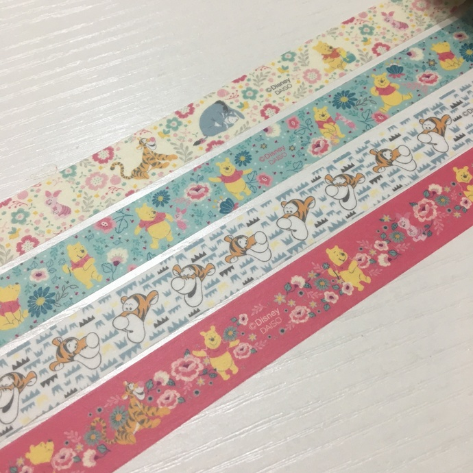 4 Rolls Japanese Disney Washi  Tape  - Winnie the Pooh, Piglet, Tigger, and