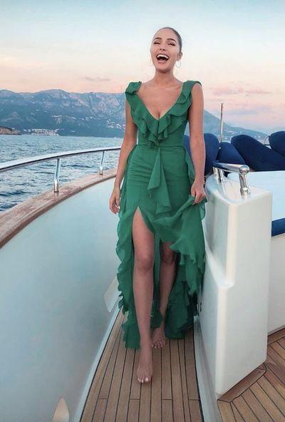 Sexy Deep V neck Green Chiffon Prom Dress, Long Evening Dress