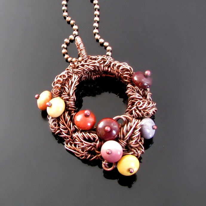Autumn wreath wire woven pendant with mookaite