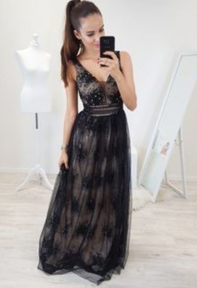 A-Line V-Neck Backless Floor-Length Black Prom Dress