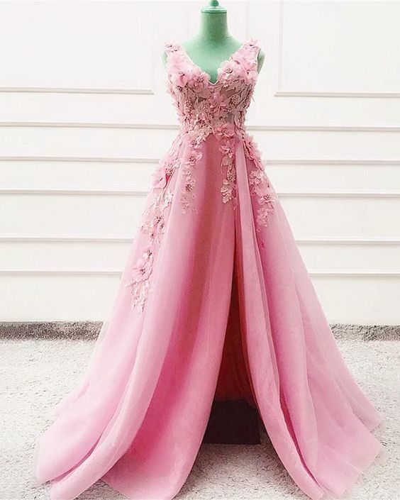 Tulle Long Split Prom Dresses Lace Flowers Embroidery