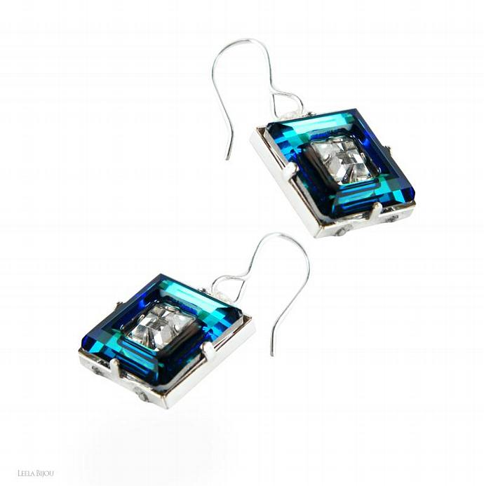 Blue Green Earrings And Ring Swarovski Crystal Sterling Silver Square Vitrail