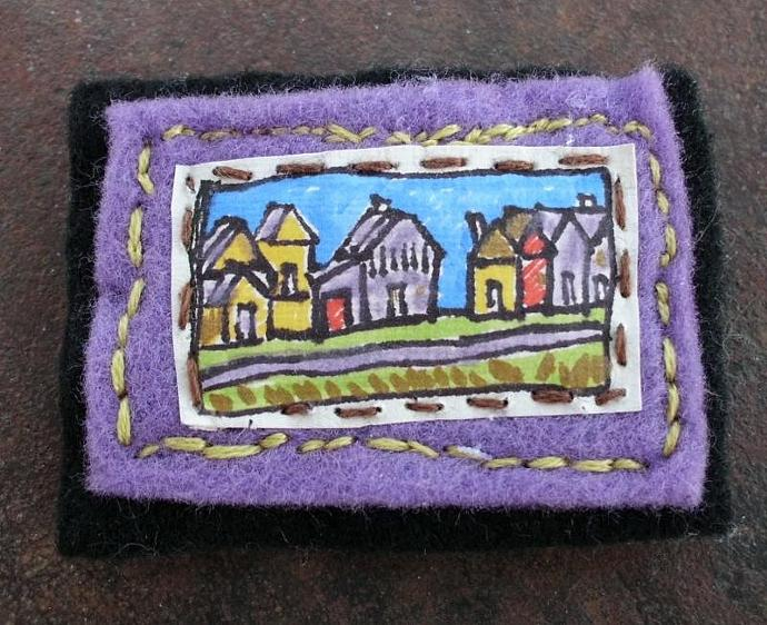 Street with Small Houses Art Pin Brooch