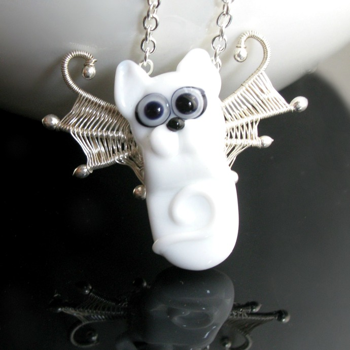 White fairy cat lampwork pendant with silver wings