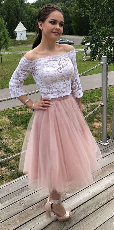 3/4 Sleeves Off-Shoulder Lace Short Prom Dresses Homecoming Dress