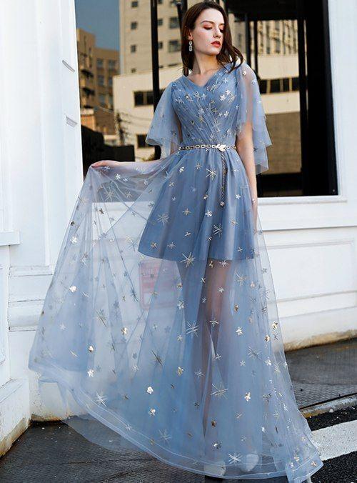 Blue Tulle V-neck Flying Sleeve Prom Dress