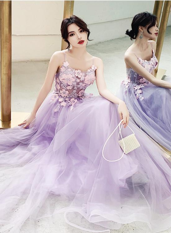 Charming Lavender Tulle A-Line Party Dress With Lace, Prom Dress