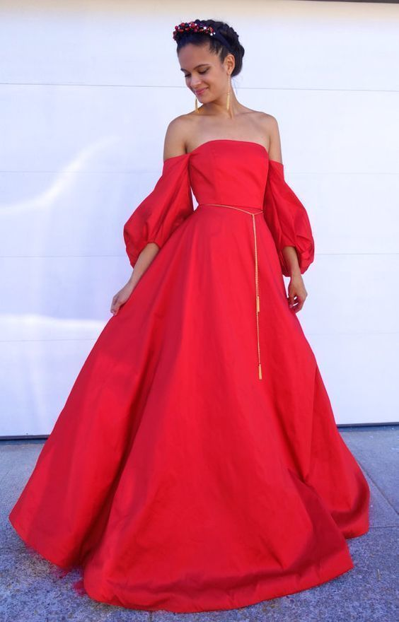Ball Gown Dress with Puff Sleeves