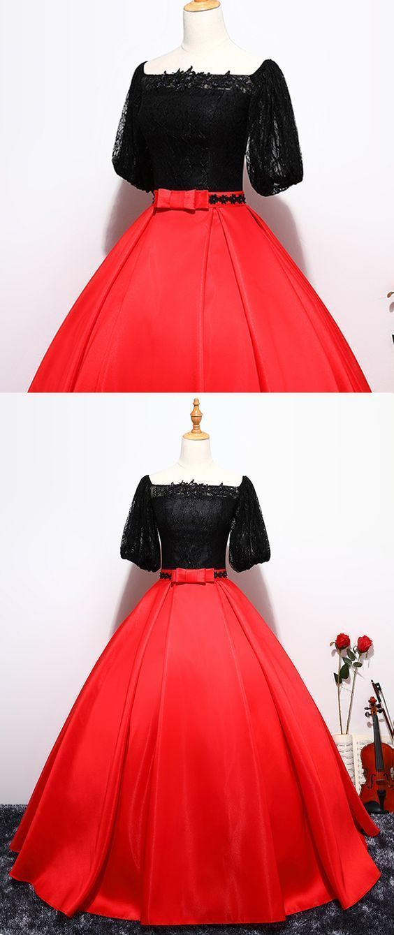 Black Lace Prom Dress, Off Shoulder Prom Dress, Red Satin Prom Dress, Long