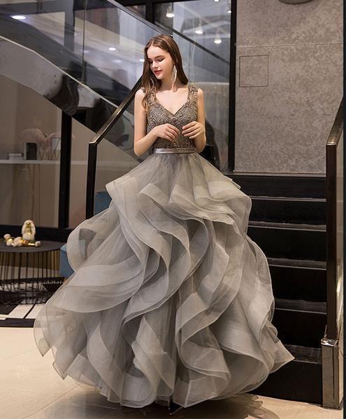 Gray v neck tulle beads long prom dress gray tulle evening dress