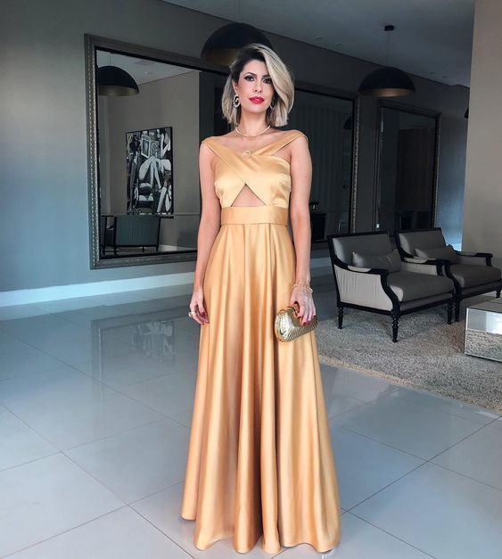 gold prom dress,satin formal gowns,long prom dress,