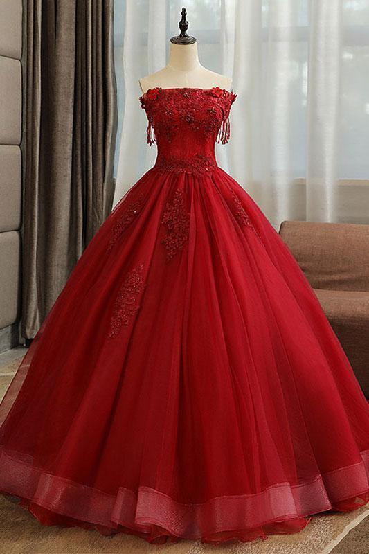 Burgundy tulle lace long prom dress burgundy tulle formal dress