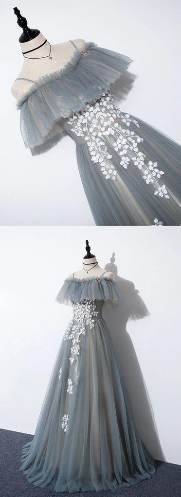 New Design Blue Gray Tulle Off Shoulder Long Lace Up Prom Dress, Formal Dress