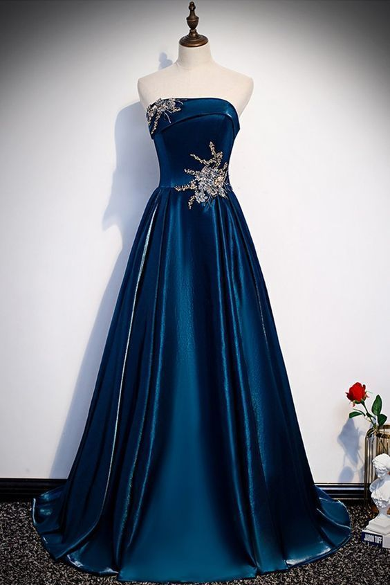 Blue Satin Strapless Long A Line Customize Prom Dress With Appliques