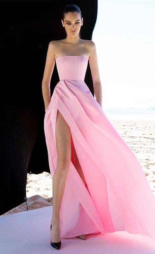 pink strapless prom dress with slit