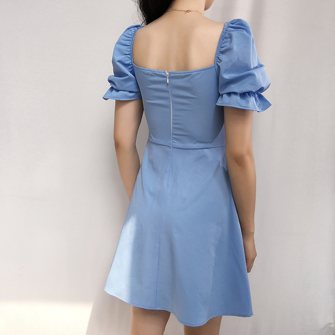 Ice blue puff sleeve princess dress