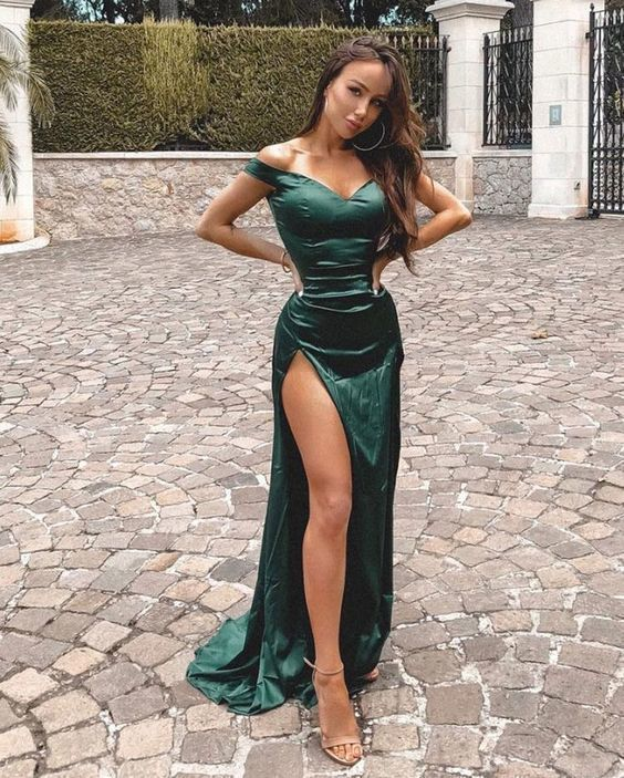 OFF THE SHOULDER SPLIT SIDE LONG MERMAID PROM DRESSES EVENING GOWNS