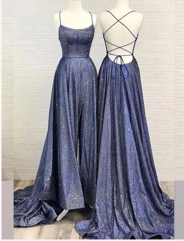 Shiny Navy Blu Sequin A Line Long Prom Dress With Slit Sexy Backless Women Prom