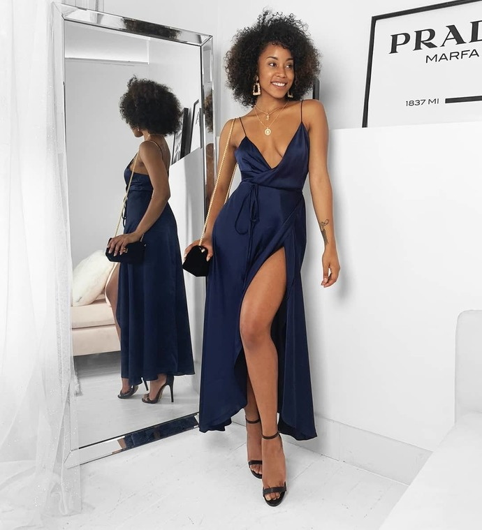 Sexy Navy Blue Long Prom Dress With Side Slit
