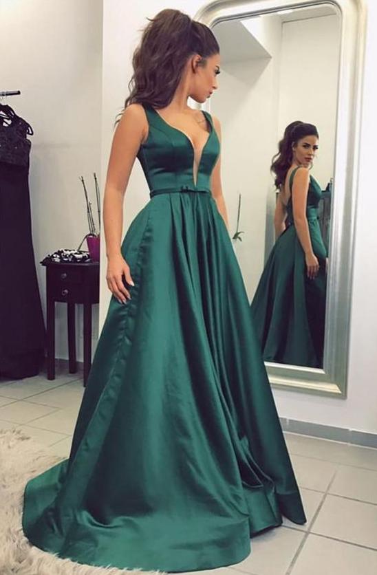 Dark Green Prom Dress Long Prom Dresses Prom Dresses Evening Dress Prom Gowns