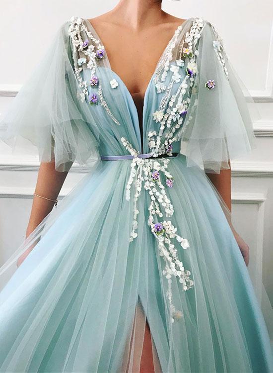 Unique Long Tulle V Neck Lace Cap Sleeve Long Prom Dress, Evening Dress
