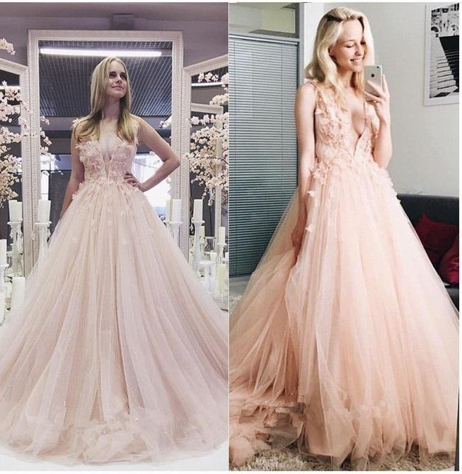 Deep V Neck Wedding Dress,Blush Wedding Dresses,Lace Wedding Dresses,Tulle