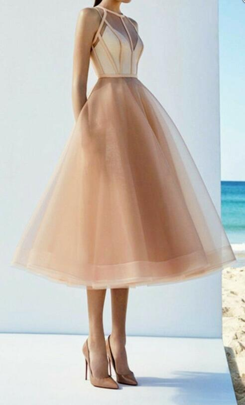 Champagne A-line Long Prom Dress,Tulle Sleeveless Party Dress,Mid-Length