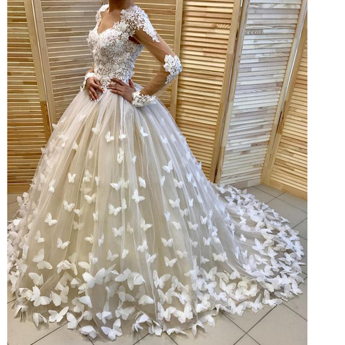 Ball Gown Wedding Dresses, Long Sleeve Wedding Dresses, Butterfly Wedding