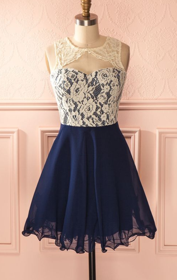Homecoming Dresses,Vintage Prom Dress, Navy Blue Prom Gowns, Mini Short