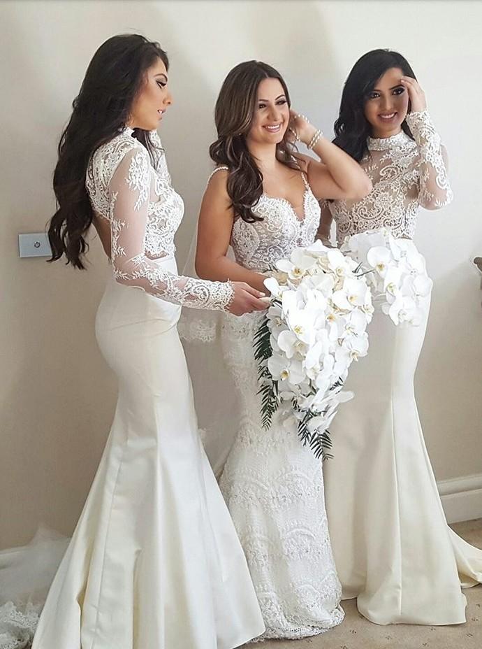 Hot Selling,A-Line Bridesmaid Dress,Halter Floor-Length Bridesmaid Dresses,Lace