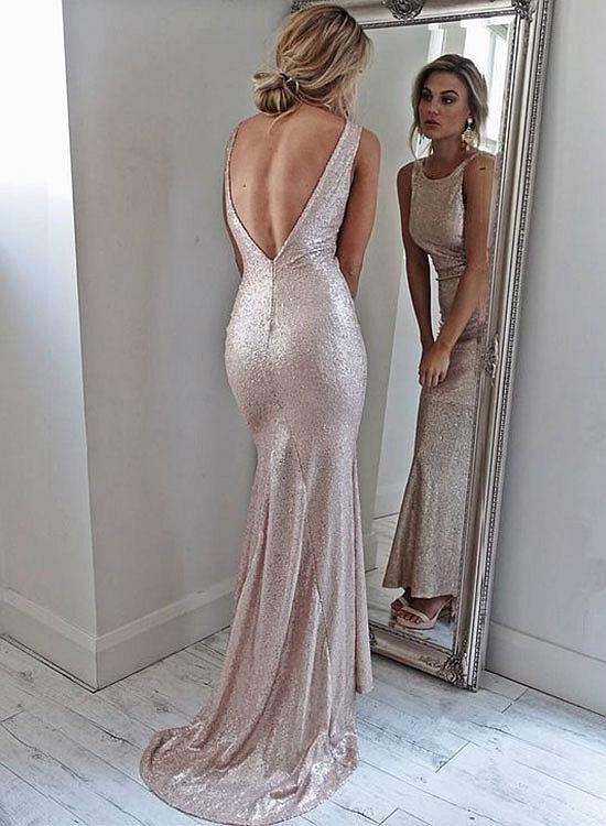 Simple Sequins Long Prom Dress, Woman's Evening Dresses