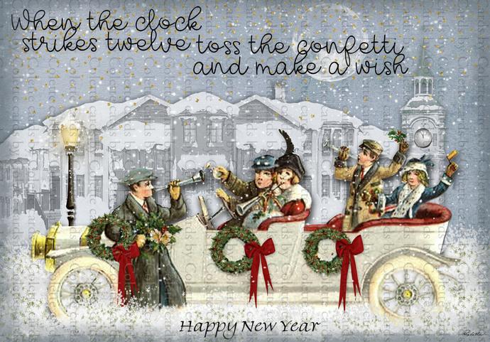 New Year Revelers White Car Digital Collage Greeting Card2475