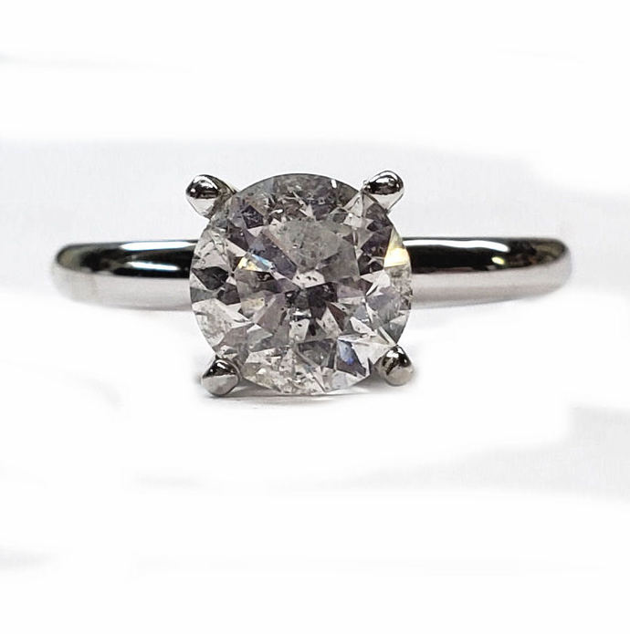 1.71ct. Round Diamond Solitaire Engagement Ring in 14kt White Gold