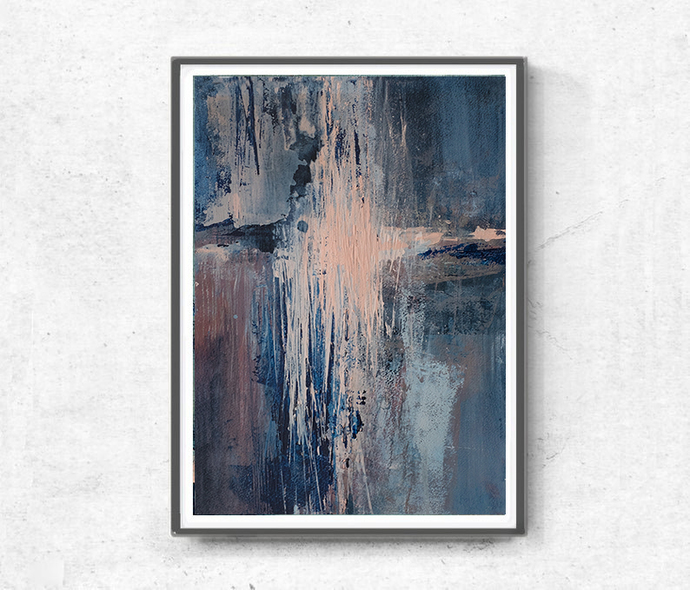 Navy blue pink, contemporary art, original painting, acrylic on paper, small