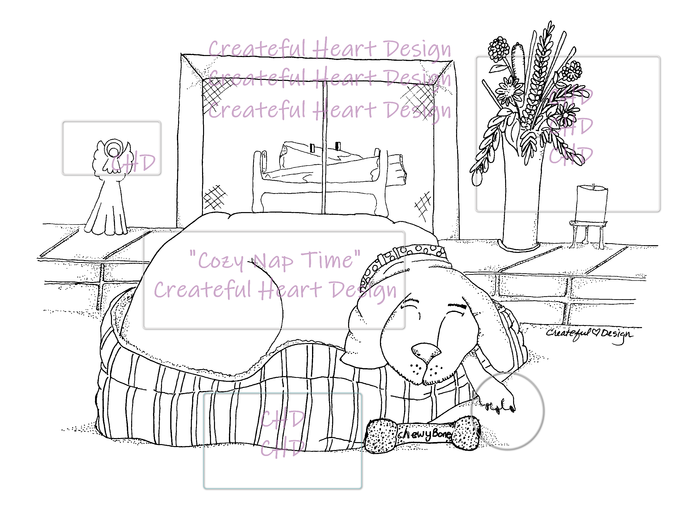 Cozy Nap Time    digital stamp