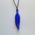 Fused Glass Feather Necklace, Blue