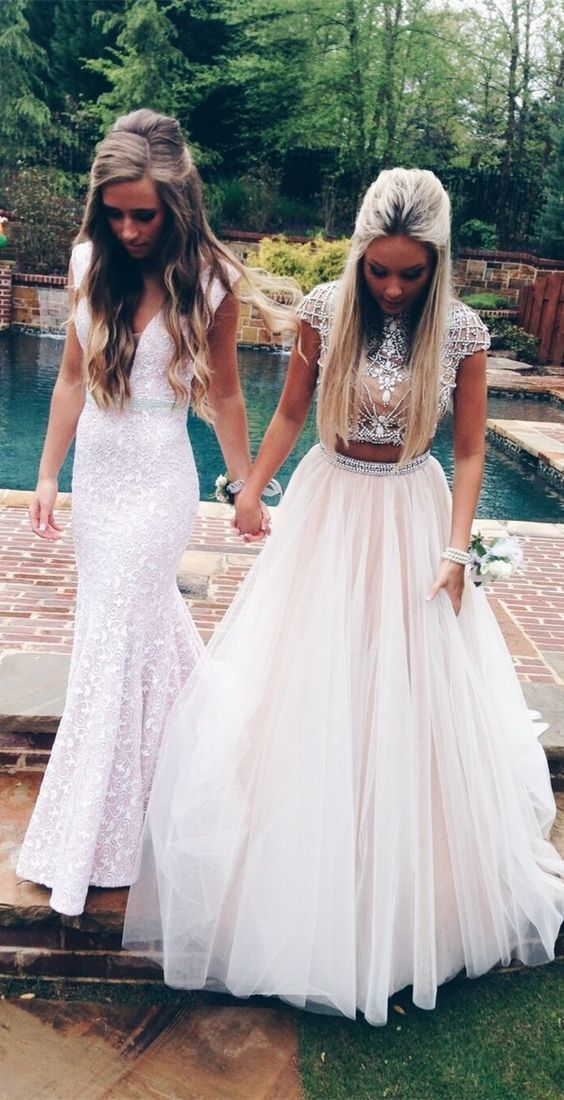 two piece white ball gown prom dresses with beaded, unique open back long prom