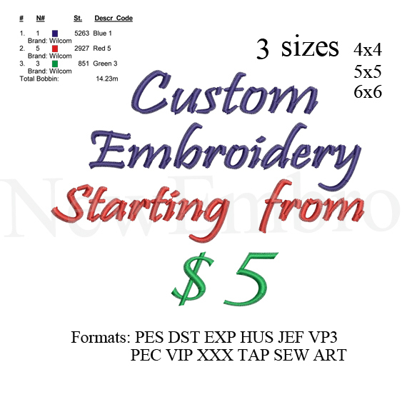 Custom embroidery. logo embroidery design,  embroidery pattern N 740  ... 3