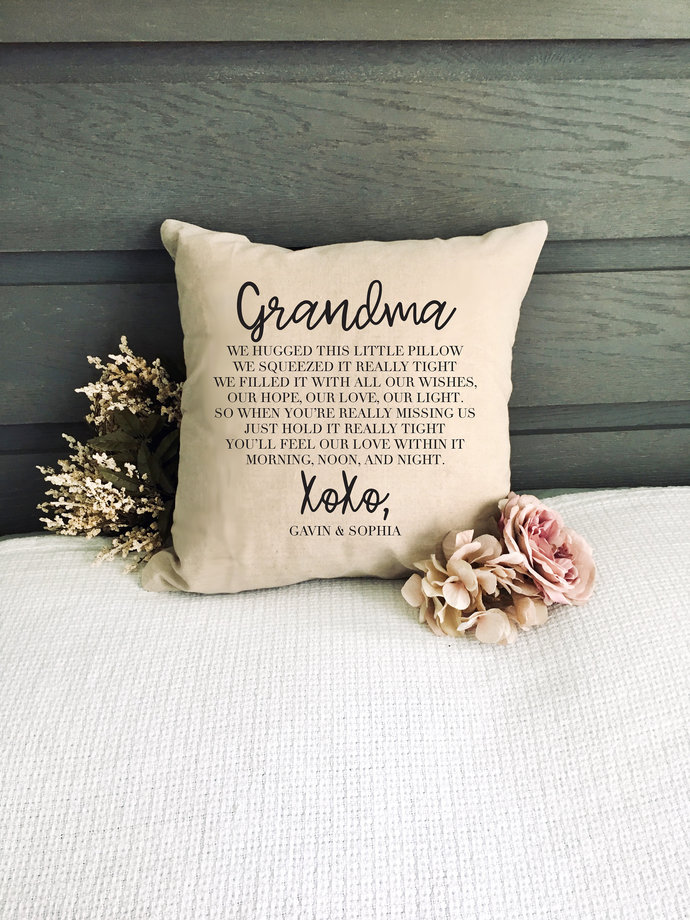 Hugs From Home Pillow Cover, Gift for Grandma, Personalized Gift